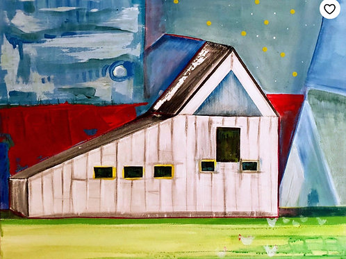 Barn Life, Geometric Farm, Chickens Roaming in a Starry Sky 24 x 36""