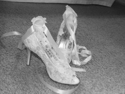 chaussure de la mariée dentelle ivoire