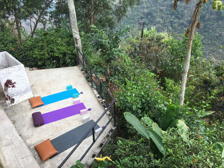 yoga on jungle patio