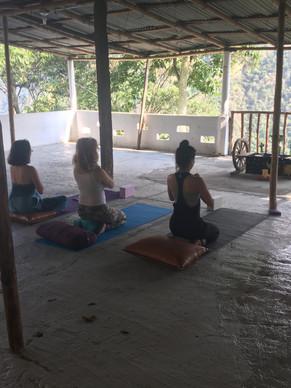 yoga practice in shala
