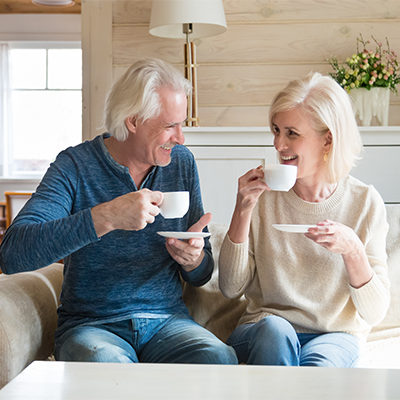White Old Couple  drinking coffee Resize