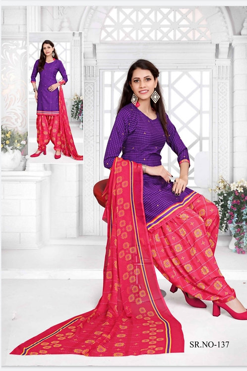 Branded Synthetic Readymade Patiyala Suit with Lining