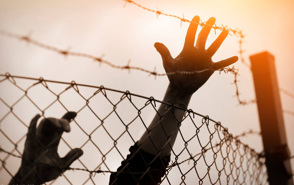Refugee men and fence , immigration concept