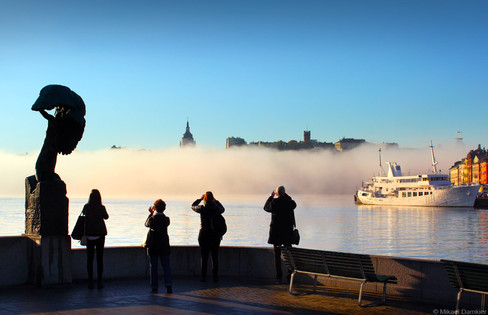 Stockholm, Sweden early morning and heavy fog