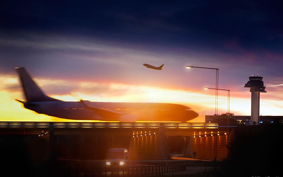 Arlanda airport at dusk