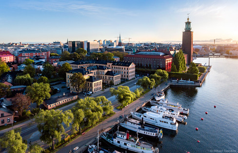 Panorama of Stockholm city, Kungsholmen early morning
