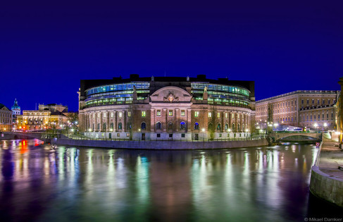 View over Strommen. The Riksdagshuset, the Swedish parliament building