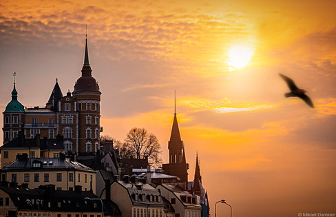 Sunset in Stockholm city, sodermalm district