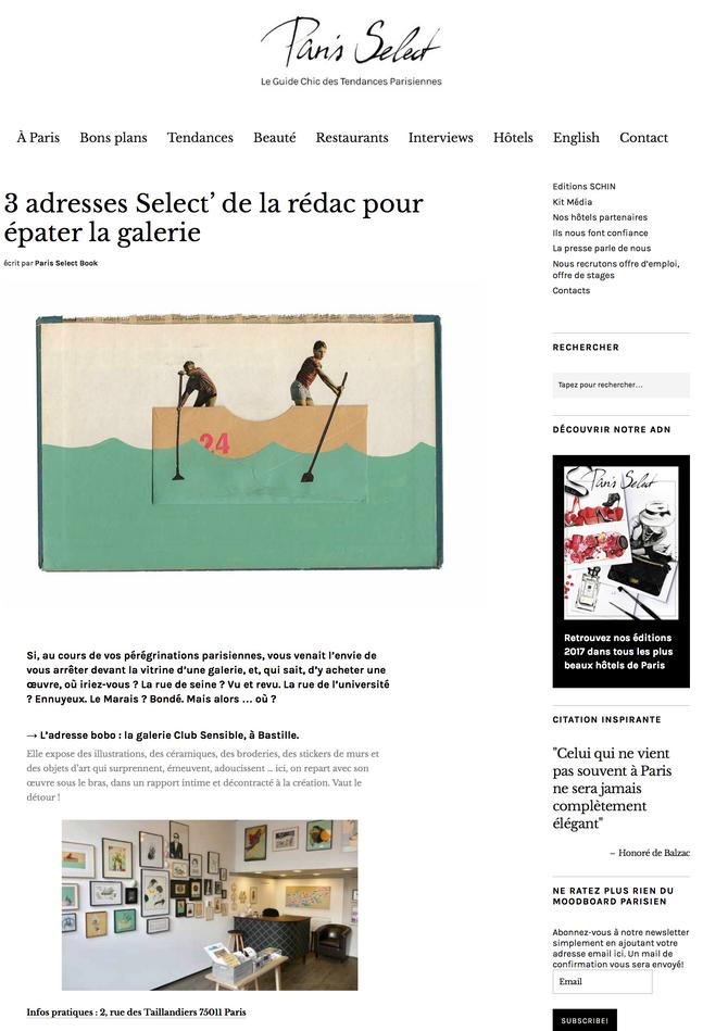 Le blog Paris Select parle de Club Sensible