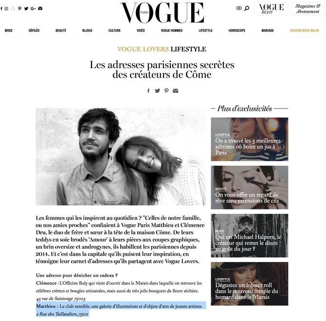 La marque Côme cite Club Sensible dans Vogue