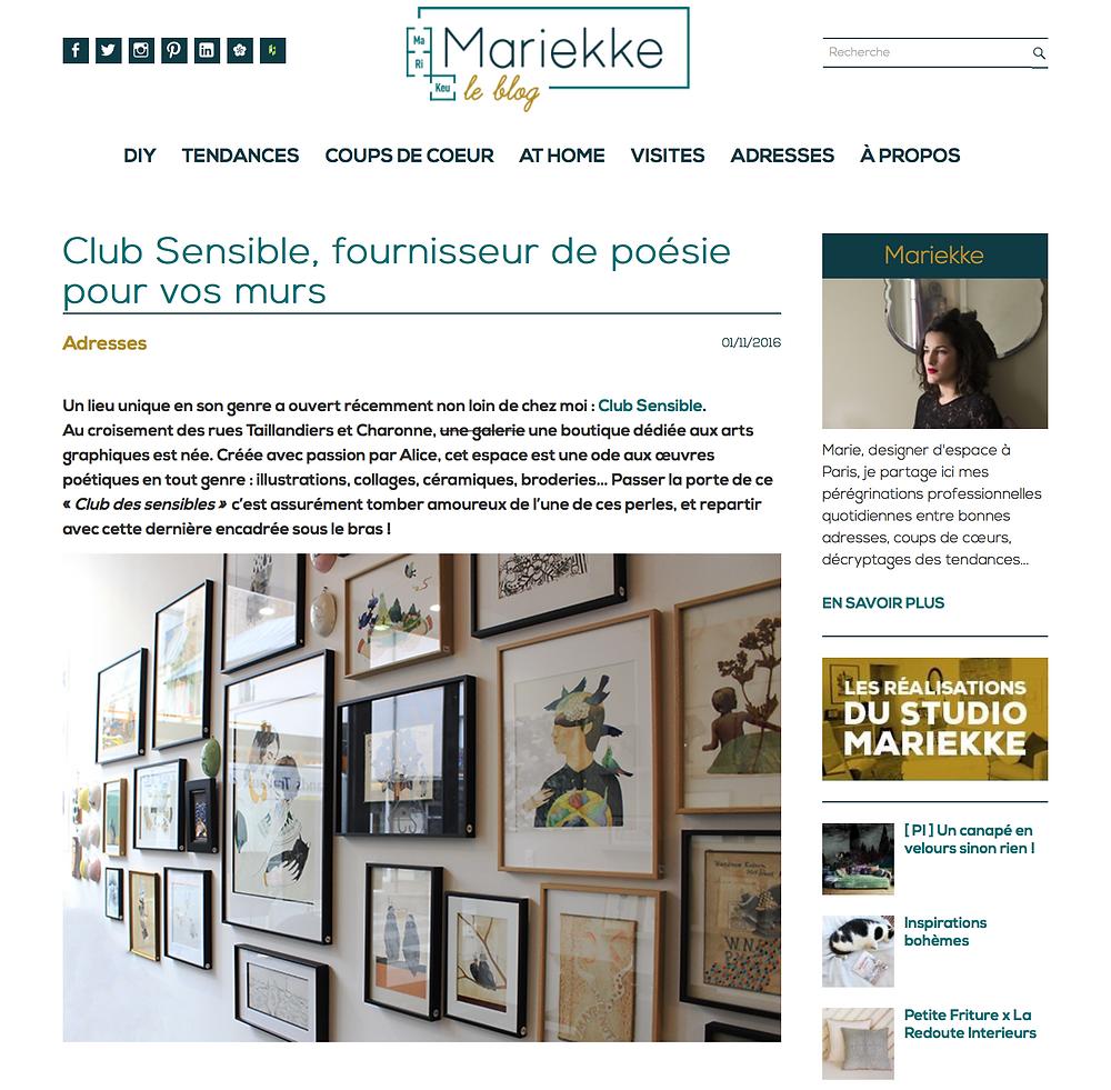 Club Sensible dans le blog de Mariekke