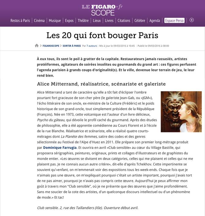 Les 20 qui font bouger Paris dans Le FIGARO SCOPE