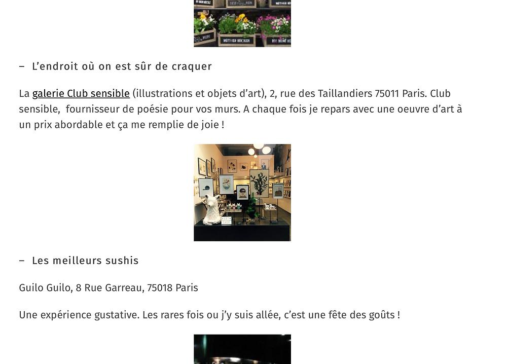 Club Sensible est une des adresses coup de Coeur de Julie Lipinski dans Lifestyle Paris.