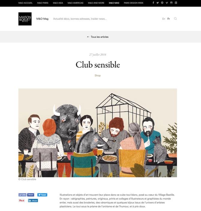 Club Sensible est dans les bonnes adresses de MAISON&OBJET