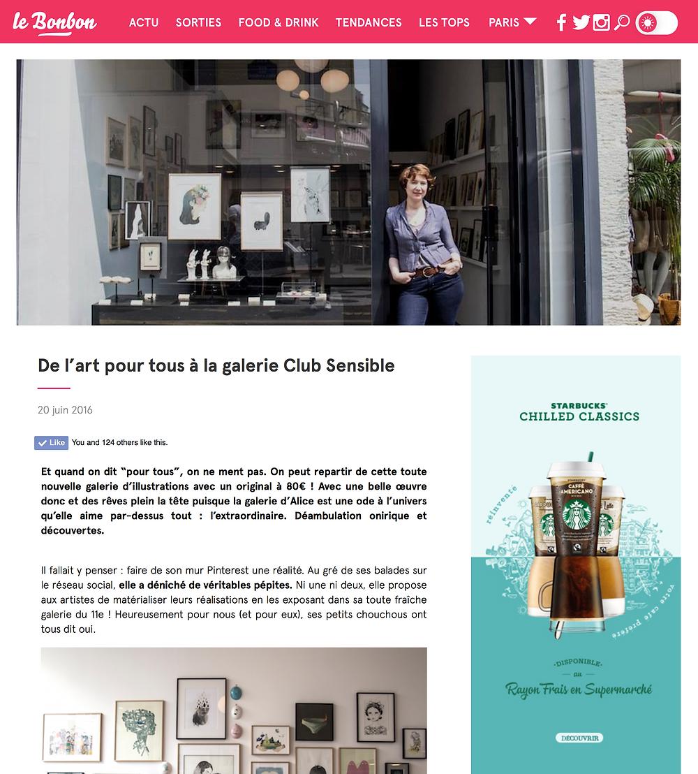 """article sur Club Sensible dans """"Le Bonbon"""""""