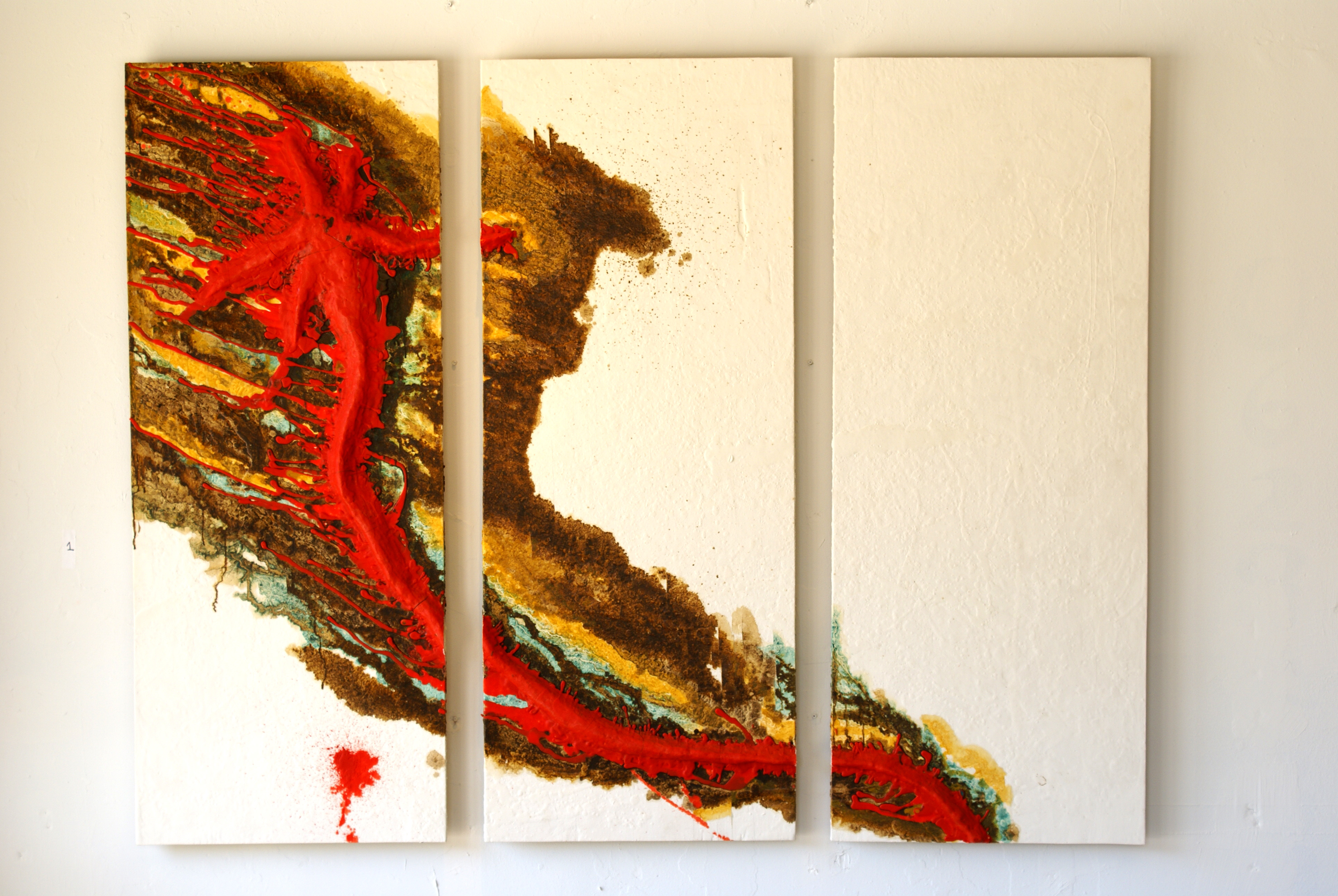 Triptych #3. 5'x 6'  mixed media on plywood (1)
