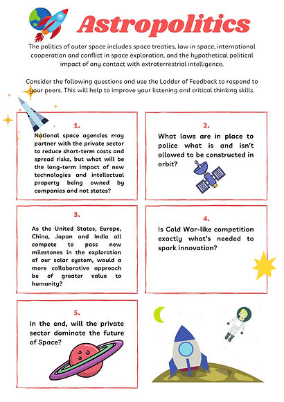 Astropolitics worksheet,creative thinking, teambuilding, brainstorming, critical thinking, strategic thinking, design thinking, systems thinking, education, professional development, hexis21, hannah young, digital education, working from home, problem solving, 21st century skills
