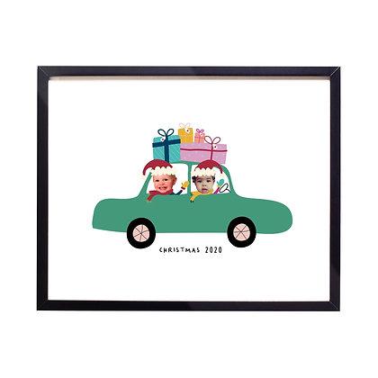 Christmas Car Personalised Print