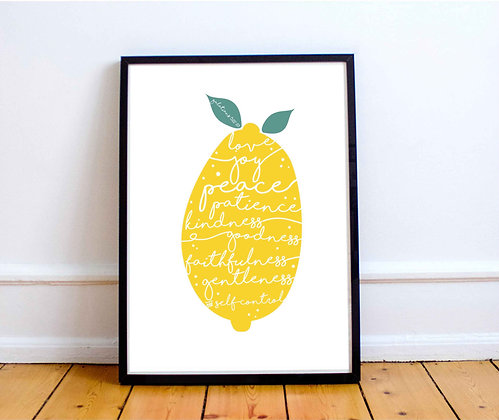 Yellow Lemon Fruit of the Spirit Print