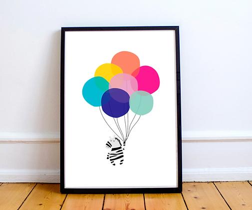 Zebra Balloon Print