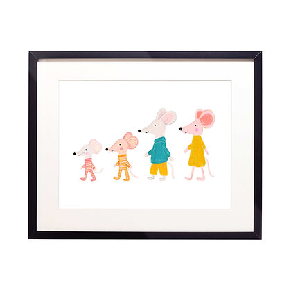 Mouse Family Illustration Print