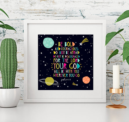 Space Joshua Bible Verse Illustration Square Print