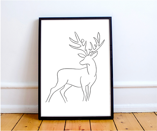 Stag Line Drawing Print