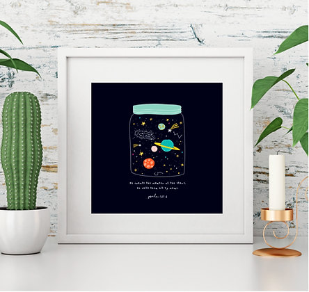 Space Bible Verse Psalm 147:4 Jar of Stars Square Print