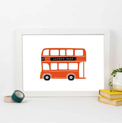 Red Double Decker Bus Illustration 'London Baby' Print