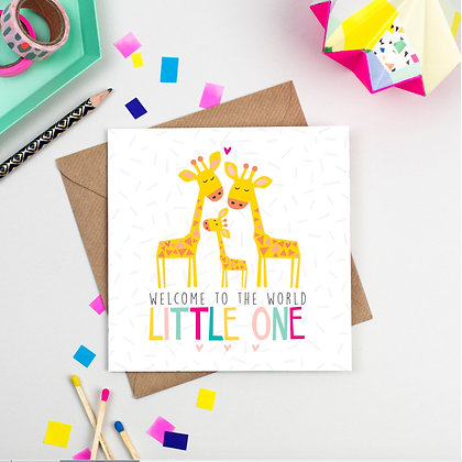 Welcome Little One Baby Giraffe Card