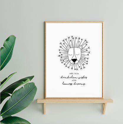 Dandelion Wishes and Lioness Dreams Print