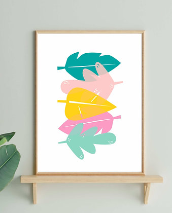 Multicolour Leaf Print