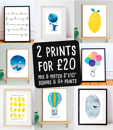 2 Prints for £20*