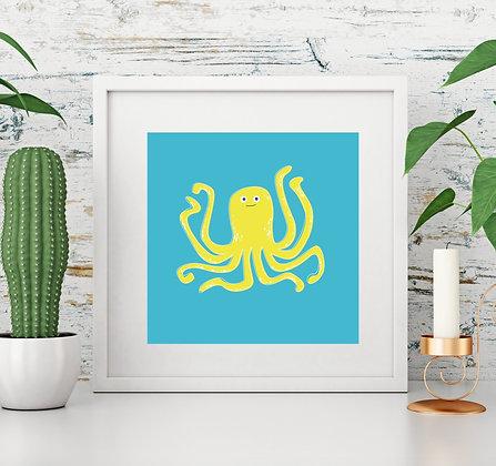 Octopus Illustration Square Print