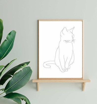 Cat Line Drawing Print
