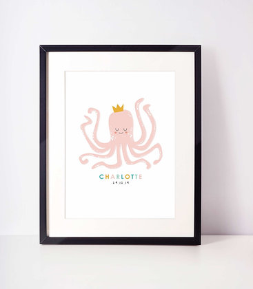 Personalised Octopus Name and Date Baby Print