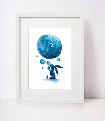 Rabbit Blowing Bubbles Stars and Space Art Print