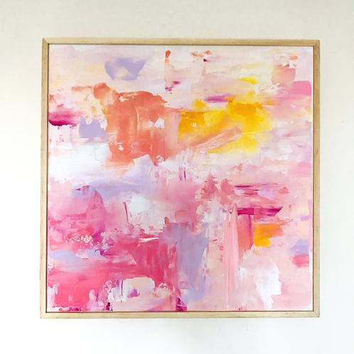 'Sugar Rose' 30cm x 30cm Framed Original