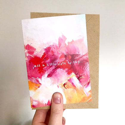 'Just a little note to say' Arty Card