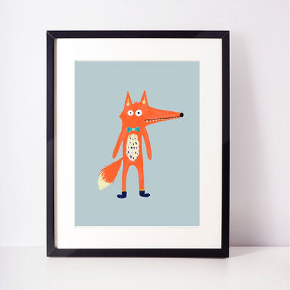 Mr Fox Illustration A4 Print