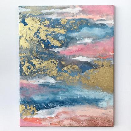 'Golden Storm' 35 x 45cm Original Painting on canvas