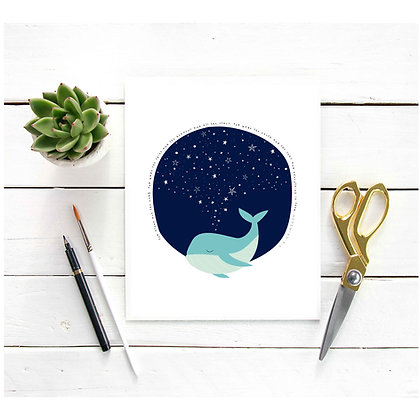 You made the skies and the heavens and all the stars - Whale and Stars Print