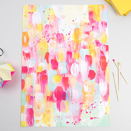 'Spring Time' Abstract Art Signed A3 Print