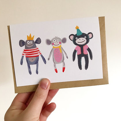 Three Little Monkeys Card