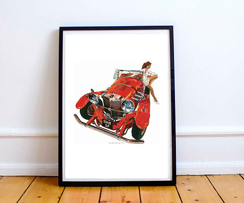 Girl and the Red Car Signed Print - FREE UK DELIVERY