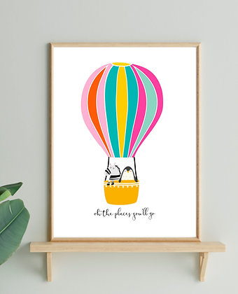 """""""Oh the places you'll go"""" - Penguin and Zebra in Hot Air Balloon Print"""
