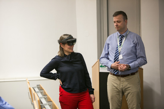 Josefine van Olmen trying out augmented reality glasses
