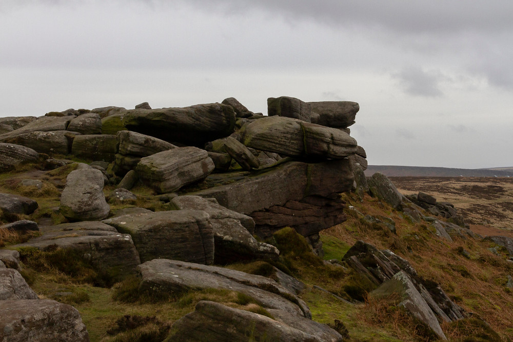 Taken from the top of Stanage Edge, Peak District, the rock formations are visually stunning and intriguing.