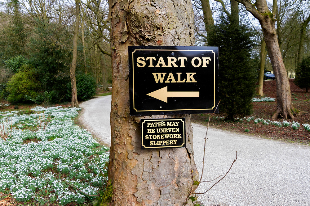 Start of the walk signage at Hopton Hall, Derbyshire, for the seasonal snow drop walk.