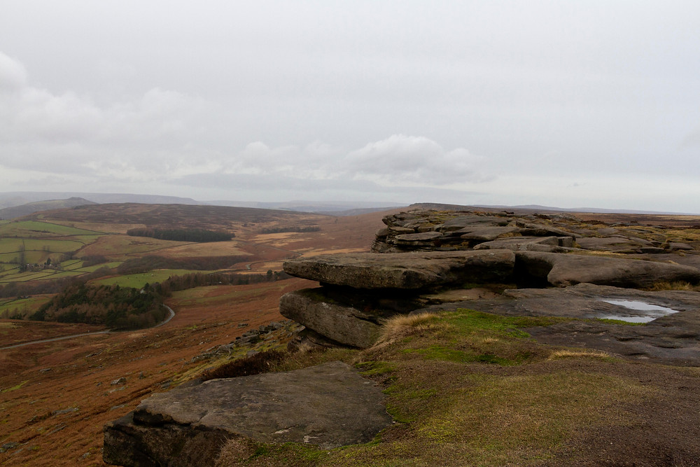 This image shows the view from the top of Stanage Edge, Peak District.